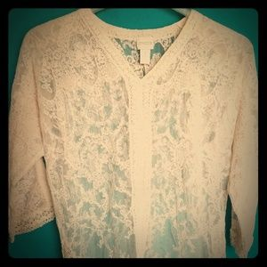Chico's creamy lace shirt with embroidered edges
